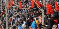 2月16日,北京市通州区运河庙会上人山人海,当日是农历正月初一,北京各大庙会相继开市,民众前往庙会迎春。中新社记者 杨可佳 摄 - 江苏新闻网