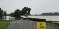 步道某入口,远处可见江水已没过道路 - 新浪江苏